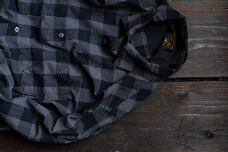 ジェットブラックチェックシャツ GR-S-105 ゲルガ GERUGA JET BLACK CHECK SHIRTS